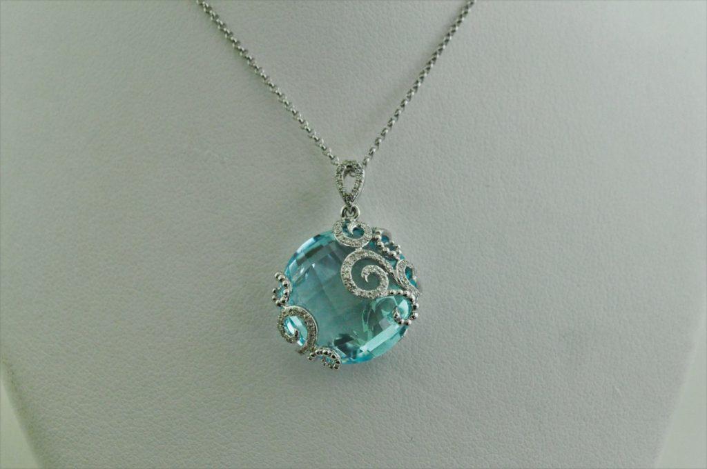 Round checkered Briolette cut swiss BLUE TOPAZ Necklace