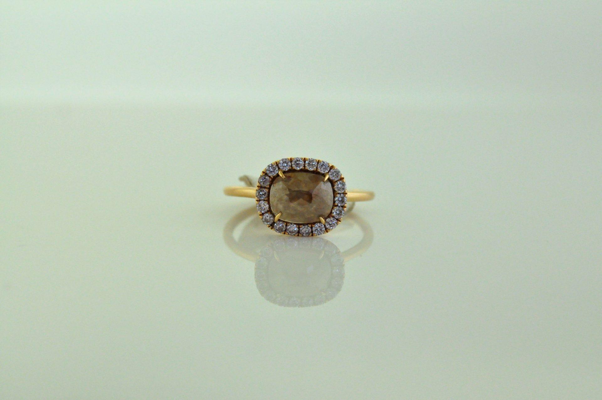 18K Rose Gold Rose-Cut Diamond Ring