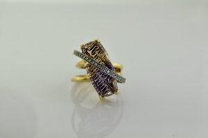 FANTASY CUT JOHN DYER AMETRINE yellow and white gold ring
