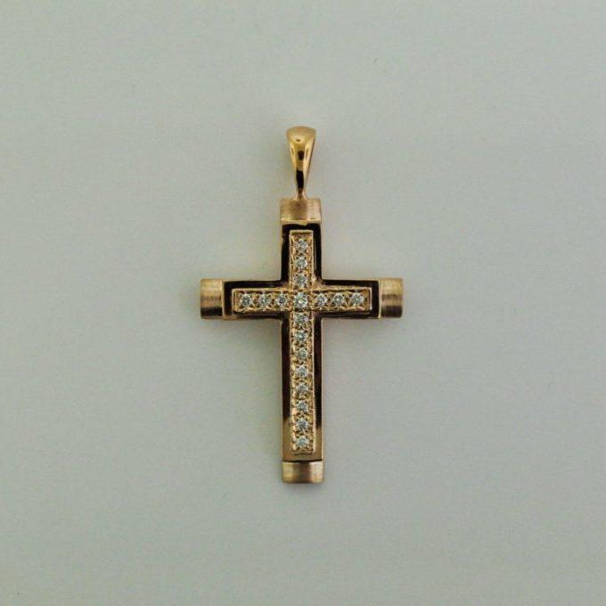 14K Red Gold Diamond Cross Pendant
