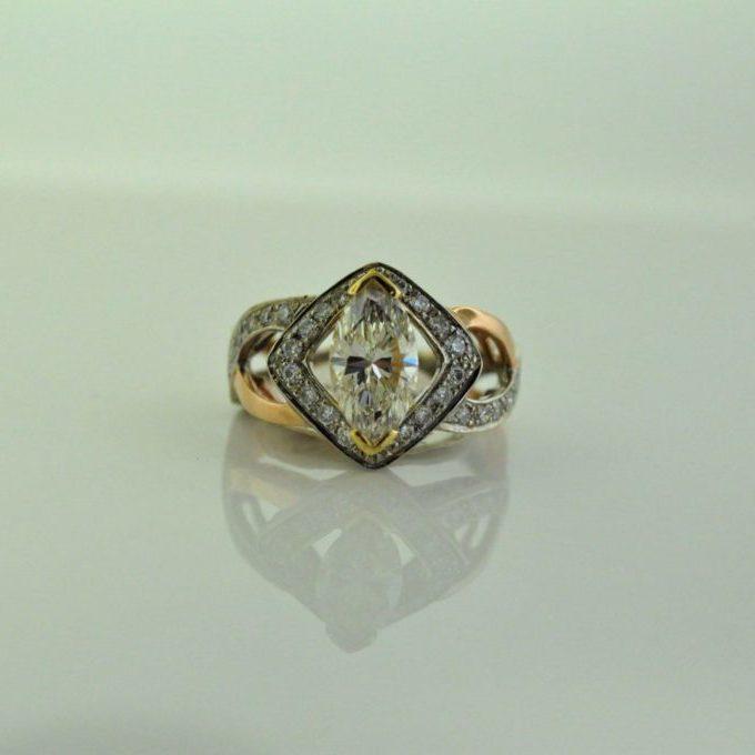14K red/white/yellow diamond ring