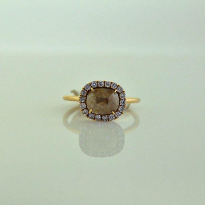 14K Red Gold Rose Cut Diamond Ring
